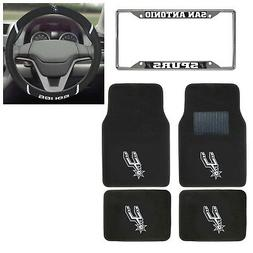 6pc NBA San Antonio Spurs Floor Mats Steering Wheel Cover &