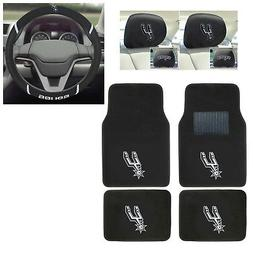 7pc NBA San Antonio Spurs Floor Mats Steering Wheel Cover &