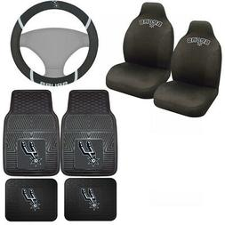7pc Set NBA San Antonio Spurs Seat Covers Floor Mats & Steer