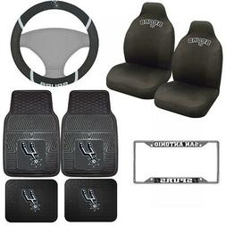 8pc Set NBA San Antonio Spurs Seat Covers Floor Mats & Steer