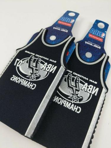 2x San Antonio SPURS NBA Jersey Bottle Koozie Insulator ~ 2007 Champions