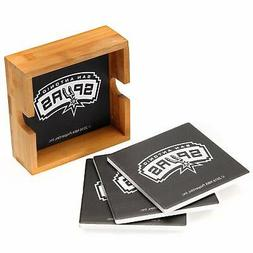 San Antonio Spurs 4-Pack Square Coaster Set with Caddy