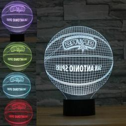 San Antonio Spurs Basketball 3D LED r Night Light Touch Tabl