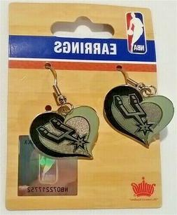 San Antonio Spurs NBA Silver Swirl Heart Dangle Earrings Ami