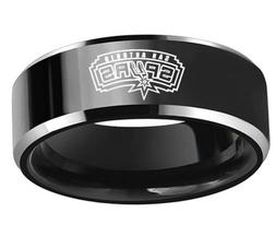 San Antonio Spurs Black Stainless Steel Engraved Ring Sizes
