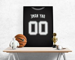 San Antonio Spurs Jersey Poster-Personalized Name & Number F