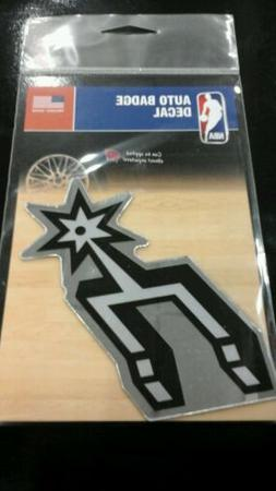 "SAN ANTONIO SPURS MIRRORED AUTO BADGE CAR EMBLEM DECAL 3""×5"