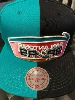 San Antonio Spurs Mitchell & Ness Split Black/Teal Snap Back