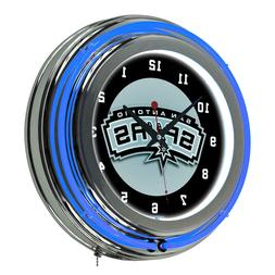 San Antonio Spurs NBA Chrome Double Ring Neon Clock,14.5 in.