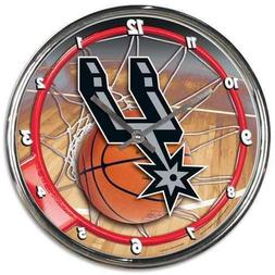 San Antonio Spurs Round Chrome Wall Clock