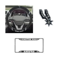 San Antonio Spurs Steering Wheel Cover, License Plate Frame,